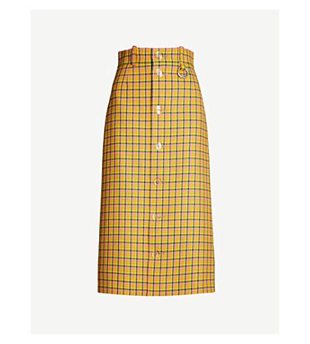 BALENCIAGA Checked wool pencil skirt (Yellow/fluo pink