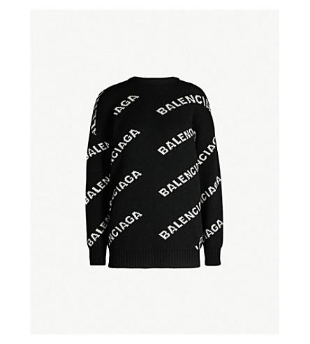 BALENCIAGA Logo-intarsia knitted jumper (Black white