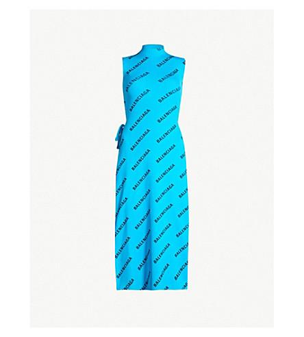 BALENCIAGA Logo-print ribbed knitted dress (Turquoise black