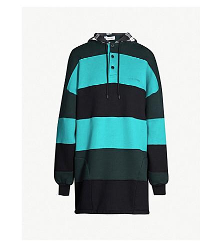 BALENCIAGA Striped patchwork cotton-jersey hoody dress (Dark cyp/mint/black