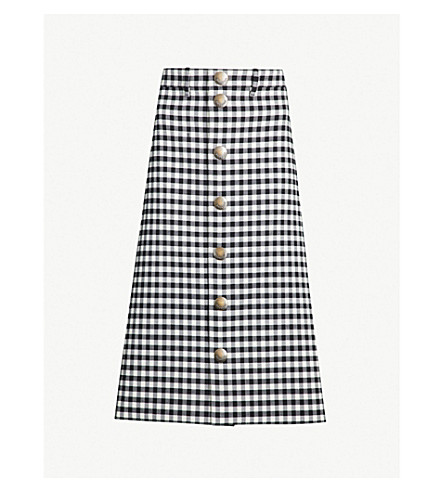 BALENCIAGA Checked woven midi skirt (Black white