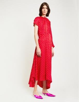 Asymmetric polka-dot silk maxi dress