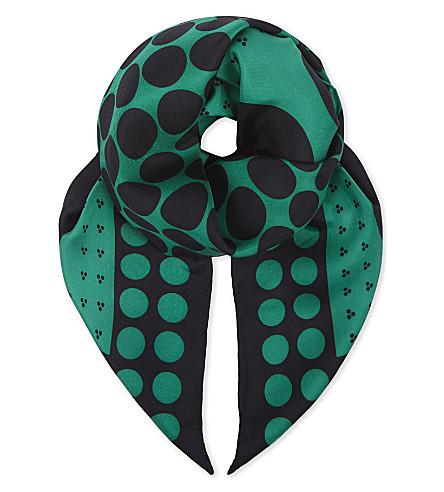DIANE VON FURSTENBERG Brunel spotted silk scarf (Brunel+evergreen