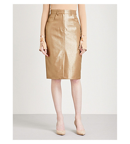 MAX MARA Amico fitted high-rise wool-blend skirt (Camel