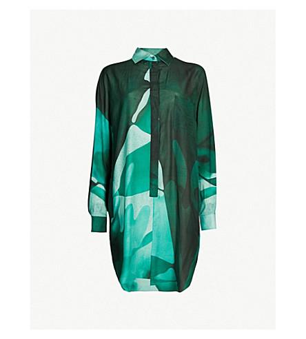 MAX MARA Firenze camouflage-print oversized cotton and silk-blend tunic (Green
