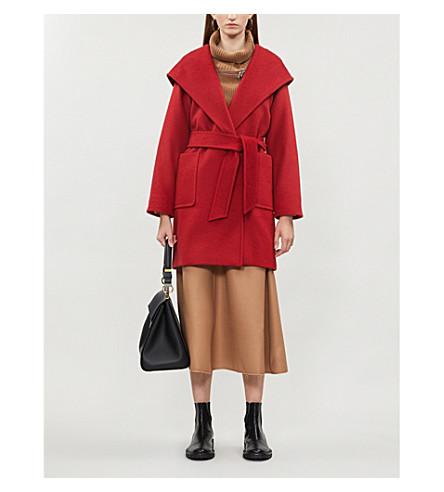 MAX MARA 连帽骆驼毛大衣 (红色