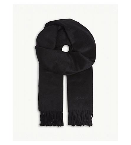 MAX MARA Fringed cashmere scarf (Black