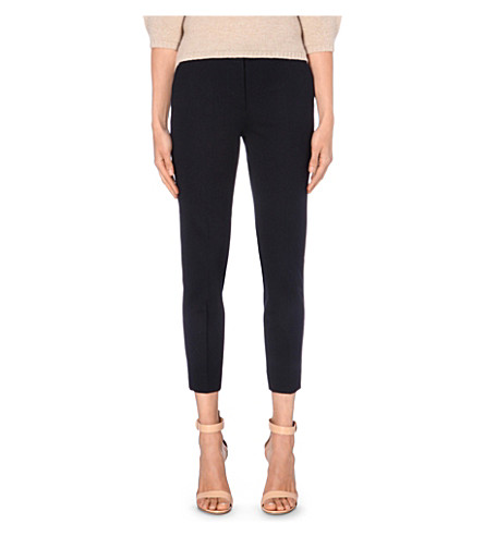 MAX MARA Slim-fit cropped jersey trousers (Navy