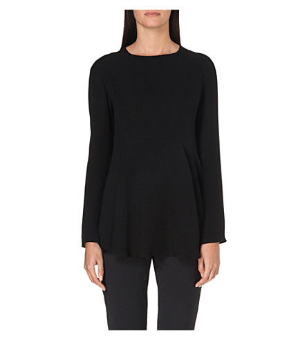 SPORTMAX Aerovia flared-hem silk top (Black
