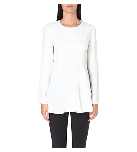 SPORTMAX Aerovia flared-hem silk top (White