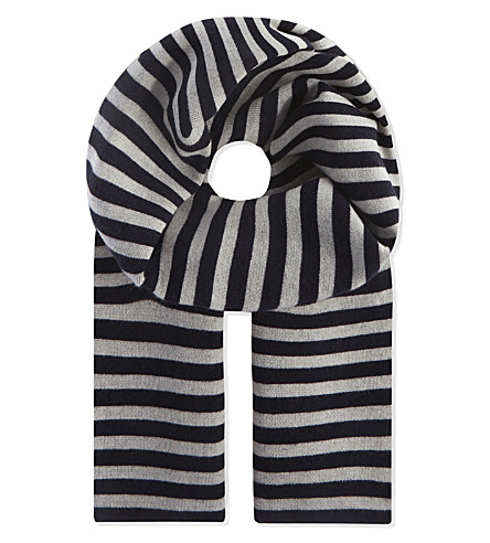 S MAX MARA Striped wool and cashmere-blend scarf (Navy+stripe