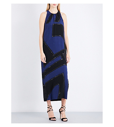MAX MARA Agiato patchwork silk midi dress (China+blue