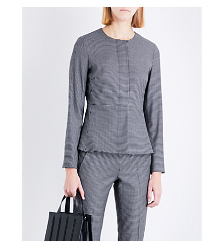 MAX MARA Ajaccio houndstooth wool-blend jacket (Navy
