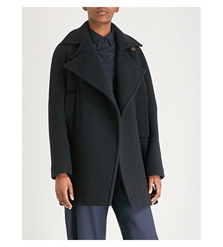 SPORTMAX Alas wool-blend coat (Navy