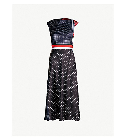 SPORTMAX Albino panelled polka dot silk-satin dress (Black