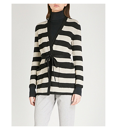 MAX MARA Alea striped linen cardigan (Black+sand+stripe