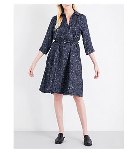 MAX MARA Alete silk-twill shirt dress (Navy+print