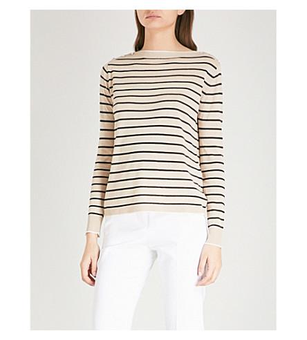 MAX MARA Alghero striped silk and linen-blend jumper (Sand