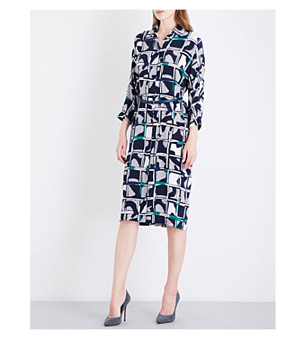 MAX MARA Aligi abstract-print silk-crepe dress (Altramarine