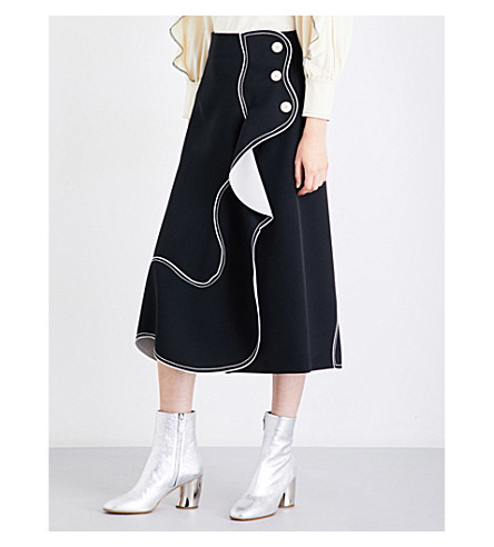 SPORTMAX Alimidi crepe skirt (Black+white
