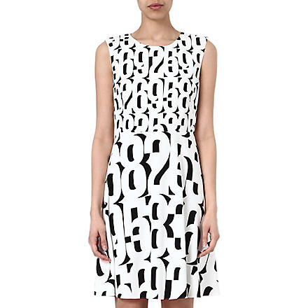 SPORTMAX Numbers shift dress (White/black