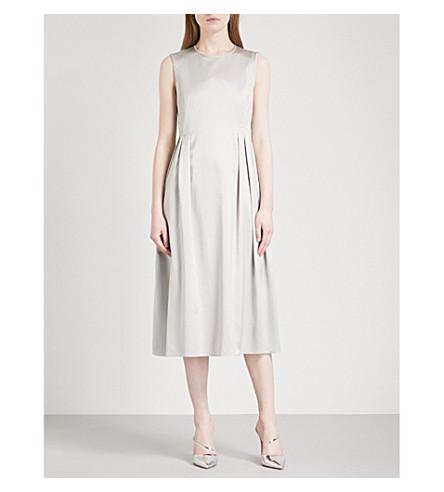 S MAX MARA Ape pleated-detail satin dress (Turtledove