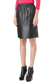 SPORTMAX Zip-detail leather skirt