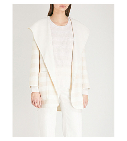 MAX MARA Arte striped wool-blend coat (Camel+-+ice