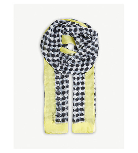 SPORTMAX Stripe silk scarf (Spot+yellow
