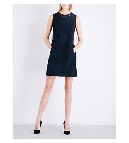 S MAX MARA Astor embellished seude mini dress (Navy