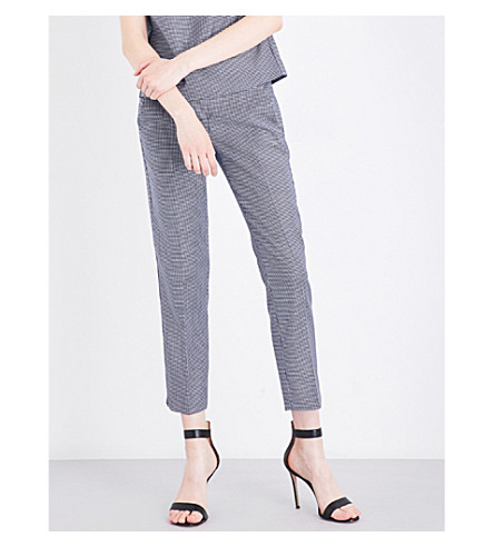 MAX MARA Astrale cropped houndstooth wool-blend trousers (Navy