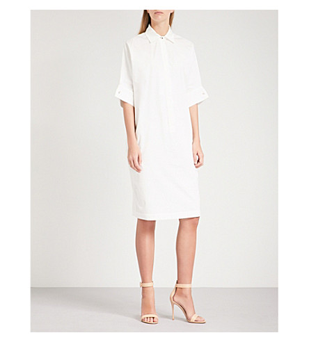 MAX MARA Baccano diamanté-detail cotton dress (Ivory