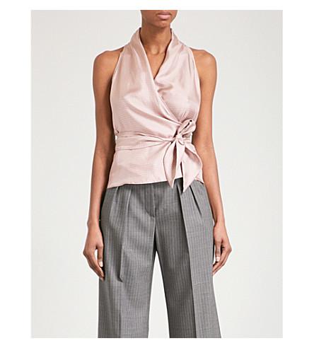 MAX MARA Bacino sleeveless silk-twill wrap top (Pink