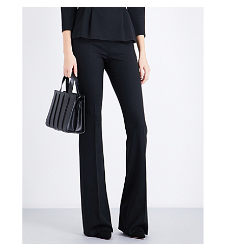 MAX MARA Baita flared stretch-wool trousers (Black