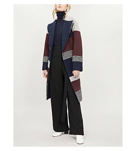 SPORTMAX Bath stretch-wool wrap coat (Light+grey