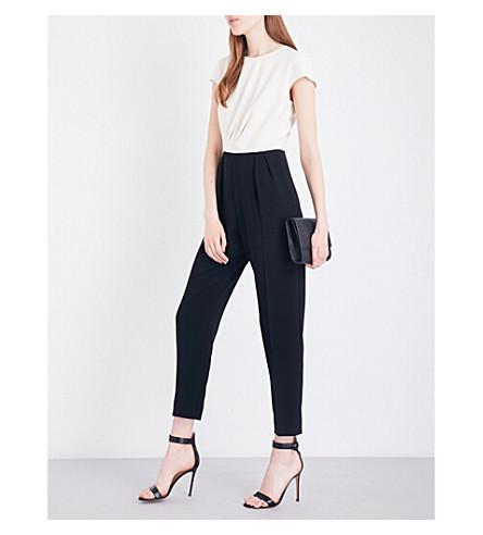 MAX MARA ELEGANTE Batun crepe jumpsuit (Black+ivory