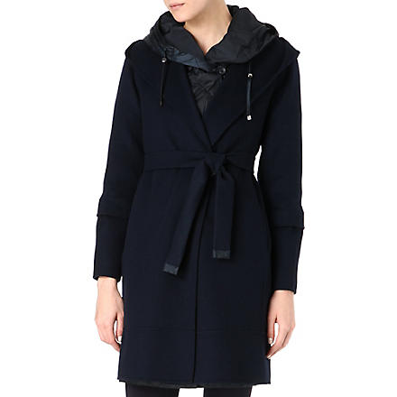 S MAX MARA CUBE Quilted-hood wool coat (Navy