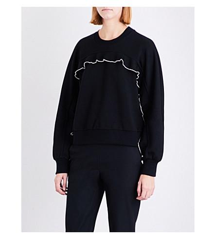 SPORTMAX Bebbio frilled-trimmed jersey sweatshirt (Black