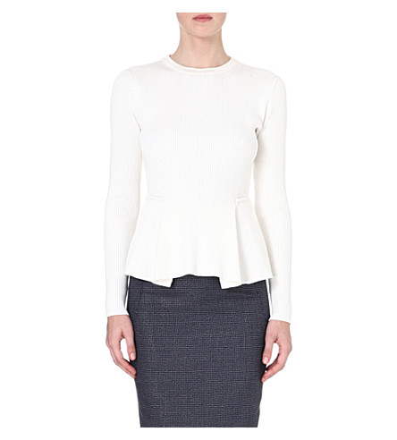 SPORTMAX Ribbed peplum jumper (White