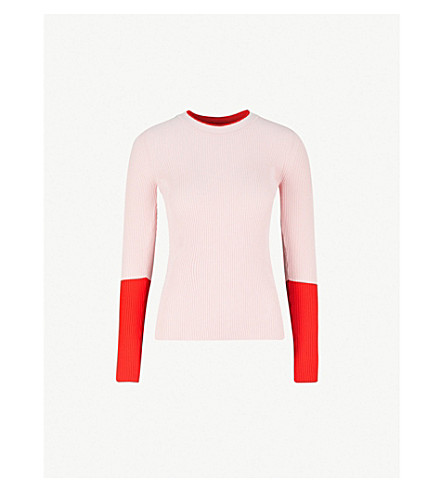 SPORTMAX Contrast-panel ribbed-knit jumper (Pink