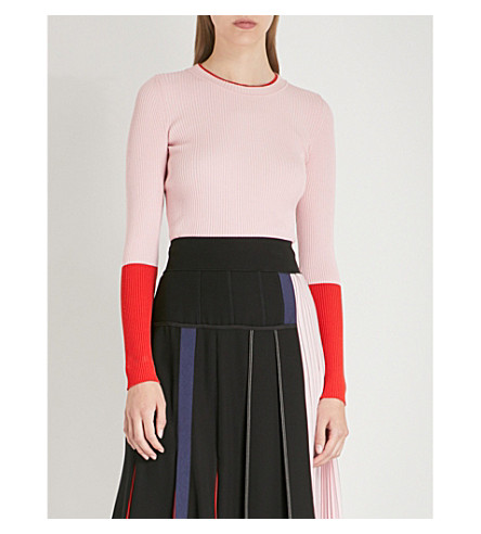 MAX MARA Contrast-panel ribbed-knit jumper (Pink