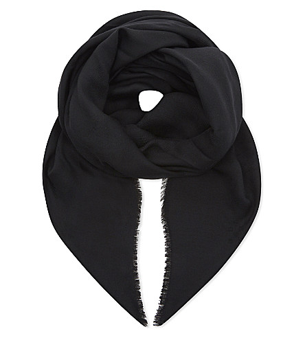 MAX MARA Logo wool and silk-blend scarf (Black