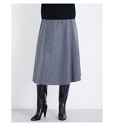 S MAX MARA Bouquet high-rise wool-blend skirt (Grey