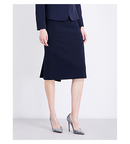 MAX MARA Bugia stretch-wool skirt (Navy