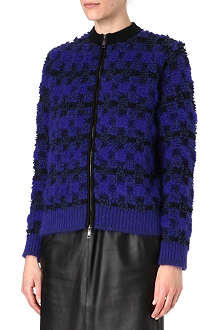 SPORTMAX Check angora-blend knitted jacket