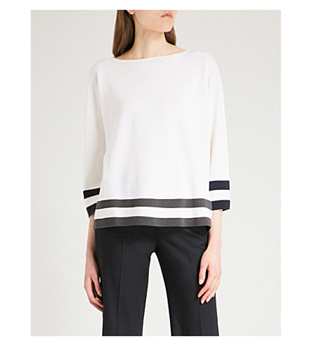 MAX MARA Camino striped-hem wool jumper (Ivory