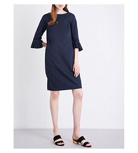 S MAX MARA Capra cotton-poplin dress (Navy