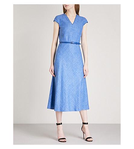 MAX MARA Caramba belted silk, linen and wool-blend midi dress (Cornflower+blue