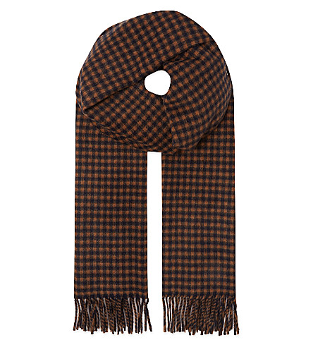 MAX MARA Checked cashmere & wool scarf (Tobacco/navy
