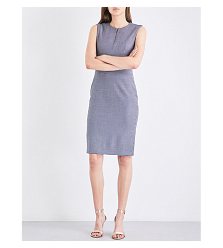 MAX MARA Cerea houndstooth wool-blend pencil dress (Navy
